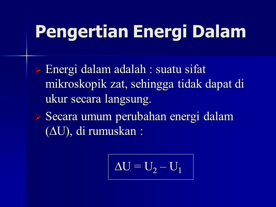 Pengertian Energi Dalam