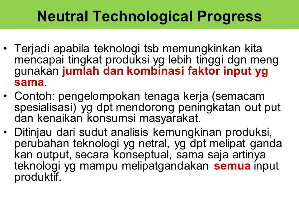Neutral Technological Progress