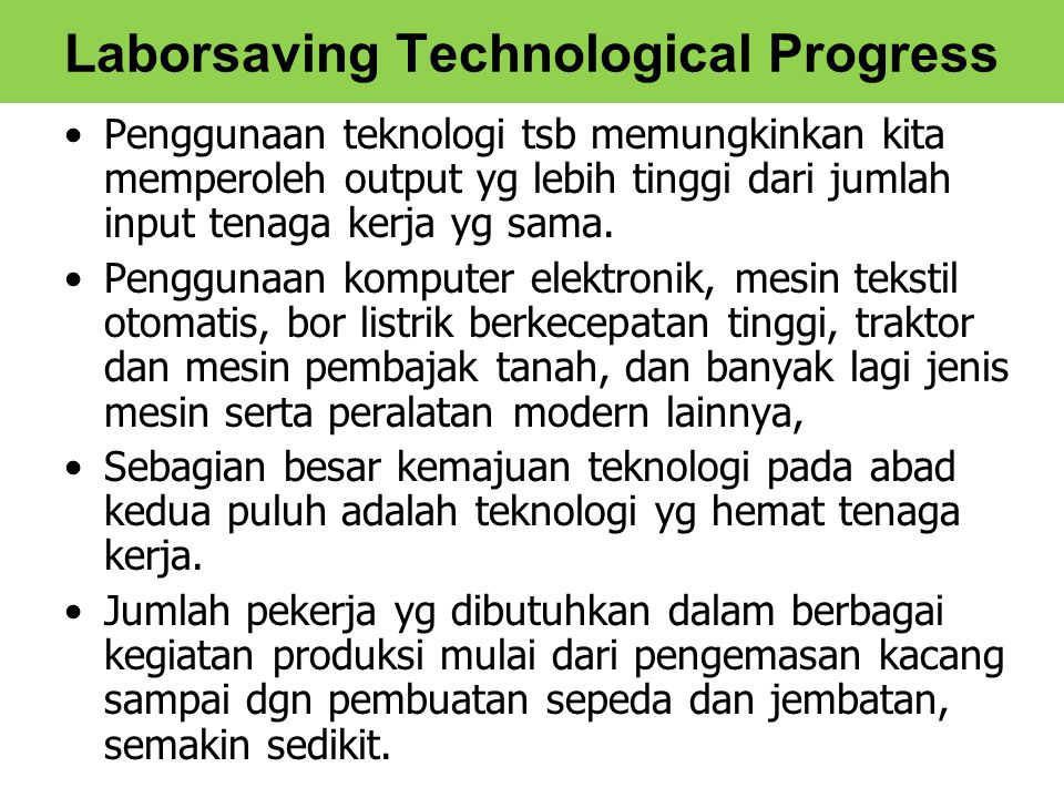Laborsaving Technological Progress