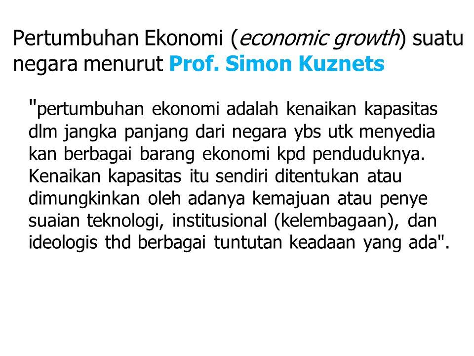 Pertumbuhan Ekonomi (economic growth) suatu negara menurut Prof