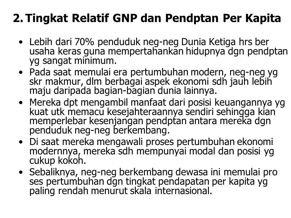 2. Tingkat Relatif GNP dan Pendptan Per Kapita