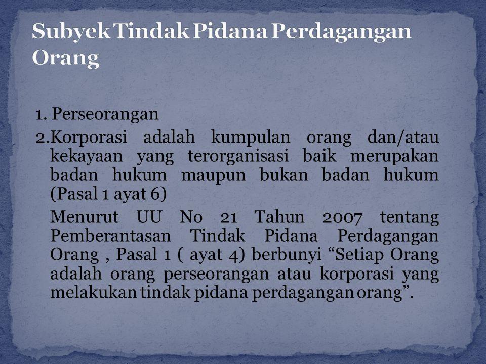 Subyek Tindak Pidana Perdagangan Orang
