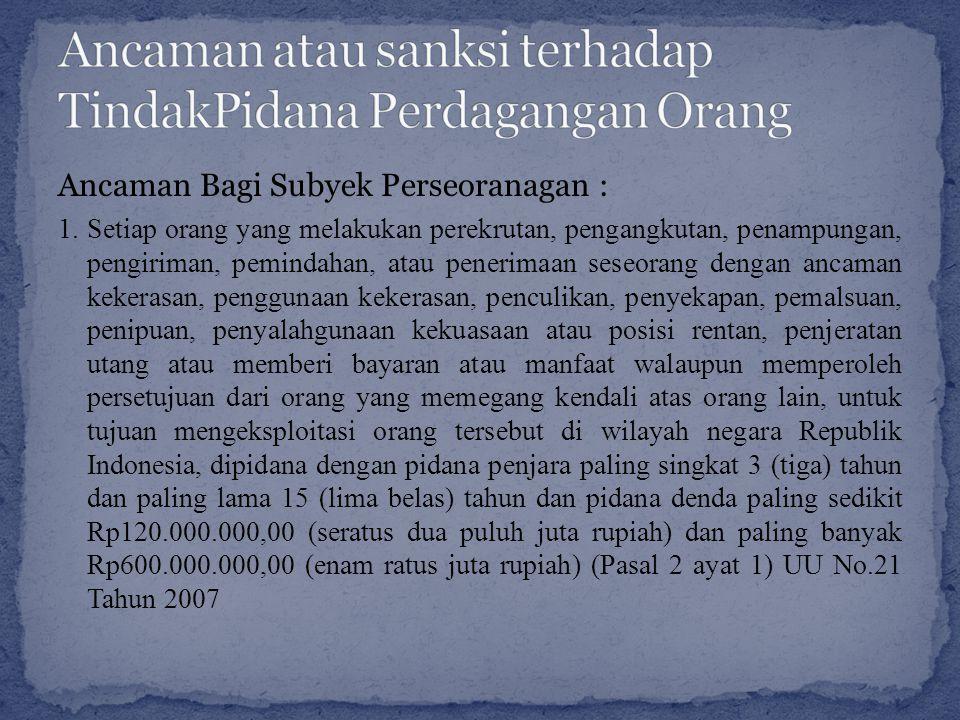 Ancaman atau sanksi terhadap TindakPidana Perdagangan Orang