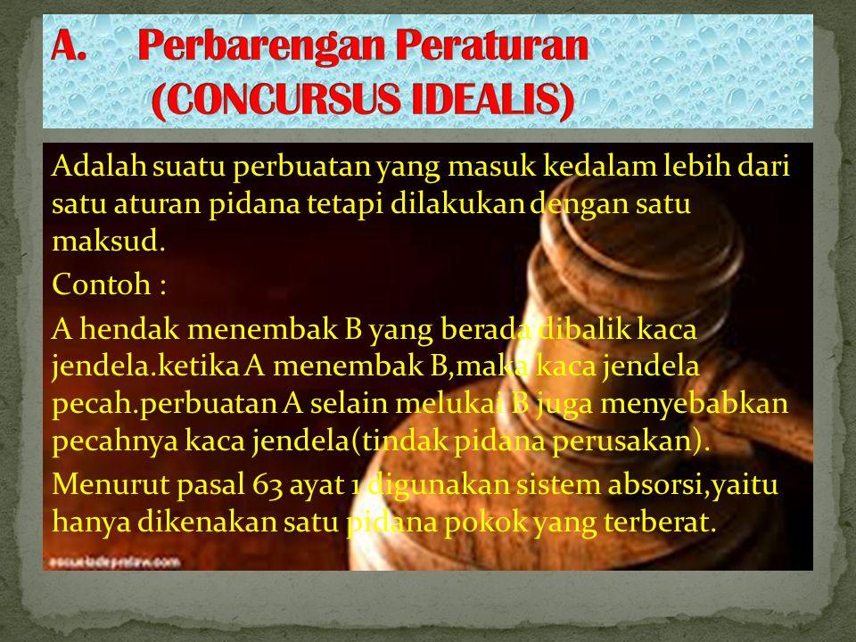 A. Perbarengan Peraturan (CONCURSUS IDEALIS)