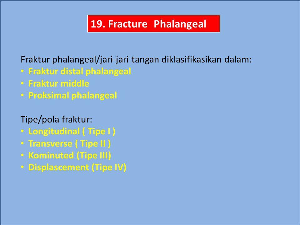 19. Fracture Phalangeal Fraktur phalangeal/jari-jari tangan diklasifikasikan dalam: Fraktur distal phalangeal.