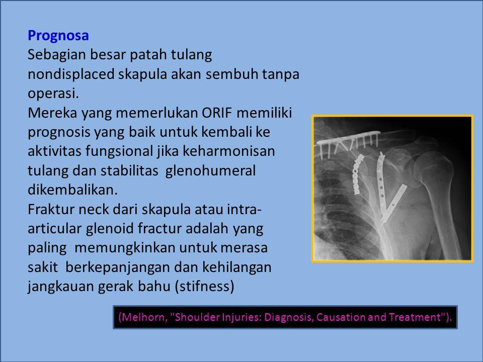 Prognosa Sebagian besar patah tulang nondisplaced skapula akan sembuh tanpa operasi.