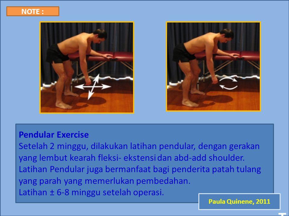 Latihan ± 6-8 minggu setelah operasi.