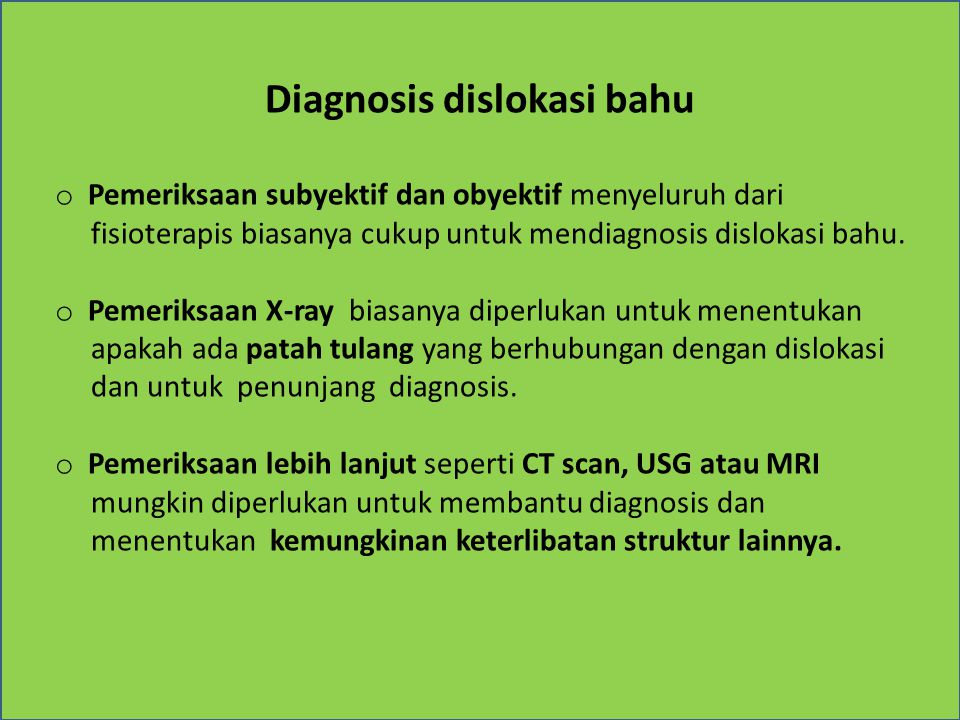 Diagnosis dislokasi bahu