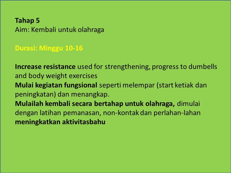 Tahap 5 Aim: Kembali untuk olahraga Durasi: Minggu 10-16 Increase resistance used for strengthening, progress to dumbells and body weight exercises Mulai kegiatan fungsional seperti melempar (start ketiak dan peningkatan) dan menangkap.