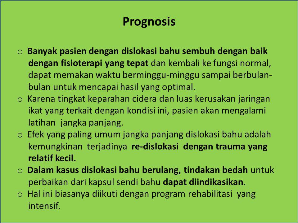 Prognosis Banyak pasien dengan dislokasi bahu sembuh dengan baik