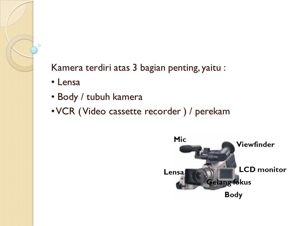 Kamera terdiri atas 3 bagian penting, yaitu : • Lensa