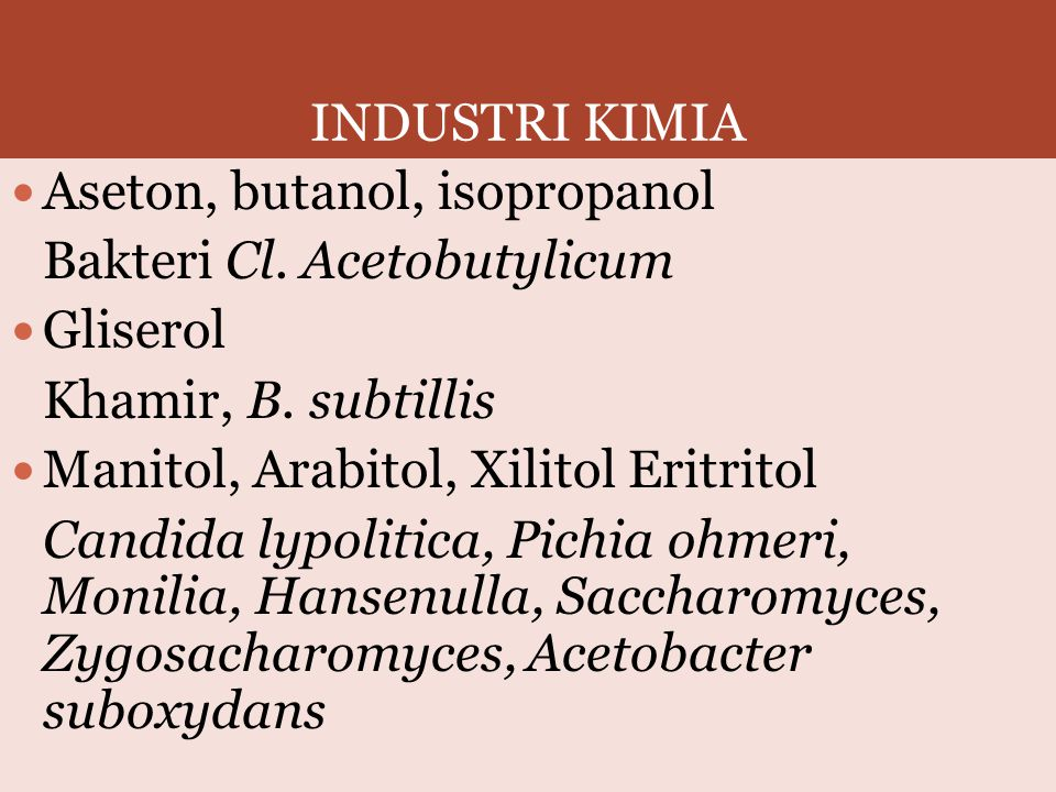 INDUSTRI KIMIA Aseton, butanol, isopropanol. Bakteri Cl. Acetobutylicum. Gliserol. Khamir, B. subtillis.
