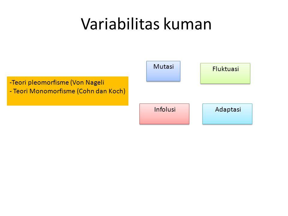 Variabilitas kuman Mutasi Fluktuasi Teori pleomorfisme (Von Nageli