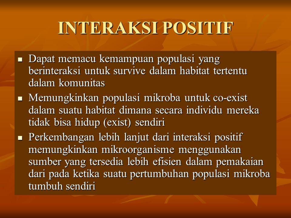INTERAKSI POSITIF Dapat memacu kemampuan populasi yang berinteraksi untuk survive dalam habitat tertentu dalam komunitas.