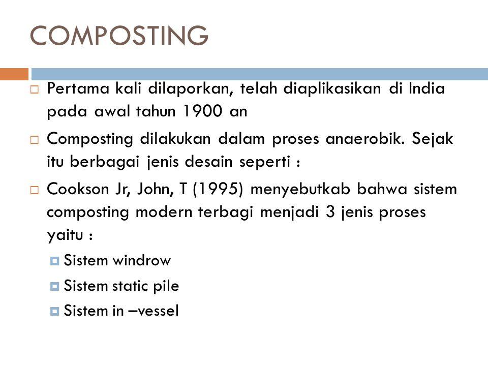 COMPOSTING Pertama kali dilaporkan, telah diaplikasikan di India pada awal tahun 1900 an.