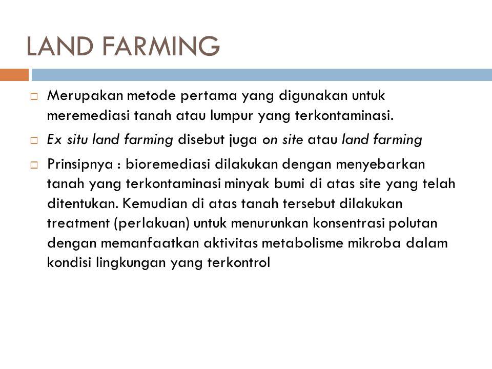 LAND FARMING Merupakan metode pertama yang digunakan untuk meremediasi tanah atau lumpur yang terkontaminasi.