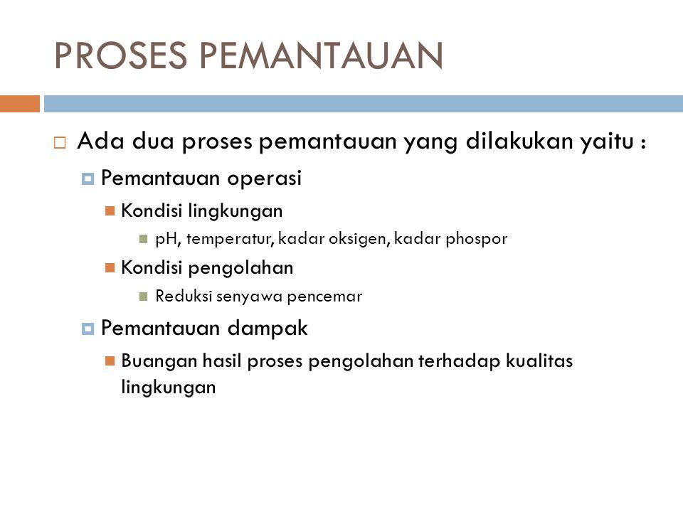 PROSES PEMANTAUAN Ada dua proses pemantauan yang dilakukan yaitu :