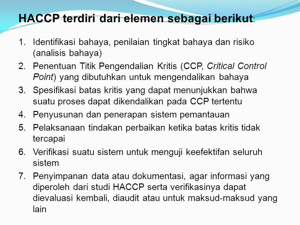 HACCP terdiri dari elemen sebagai berikut: