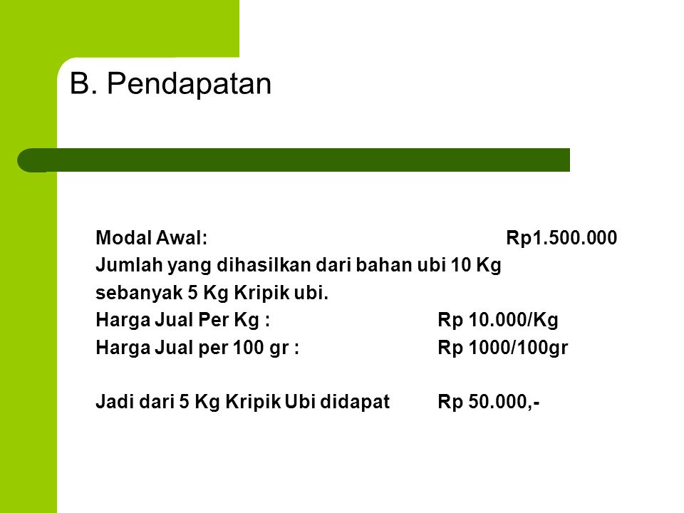 B. Pendapatan Modal Awal: Rp1.500.000