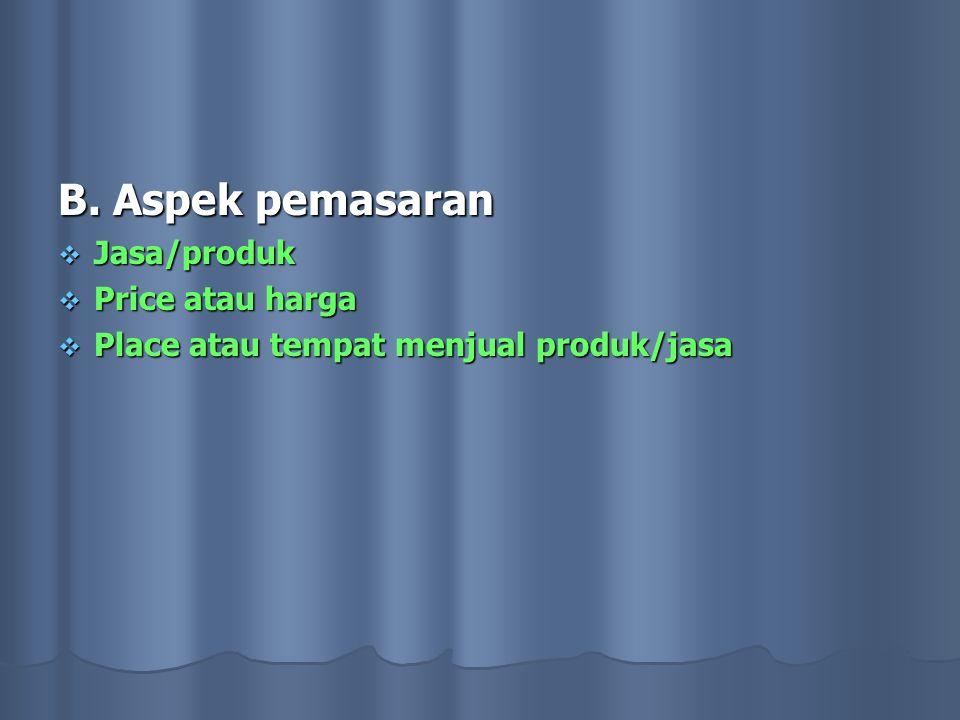 B. Aspek pemasaran Jasa/produk Price atau harga