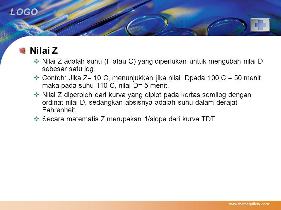 Nilai Z Nilai Z adalah suhu (F atau C) yang diperlukan untuk mengubah nilai D sebesar satu log.