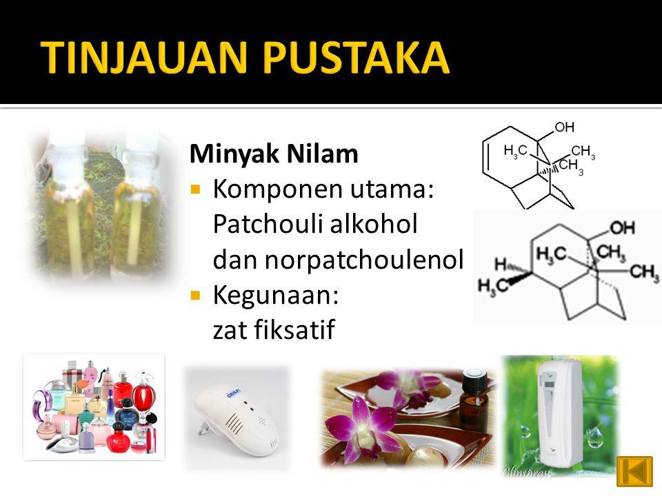 TINJAUAN PUSTAKA Minyak Nilam Komponen utama: Patchouli alkohol