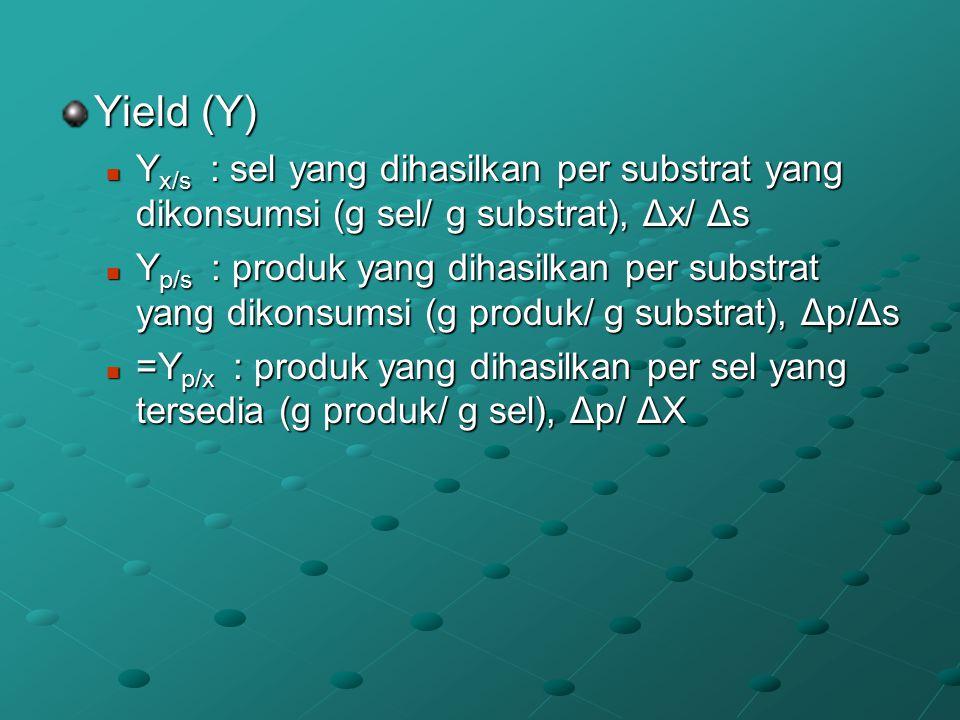 Yield (Y) Yx/s : sel yang dihasilkan per substrat yang dikonsumsi (g sel/ g substrat), Δx/ Δs.