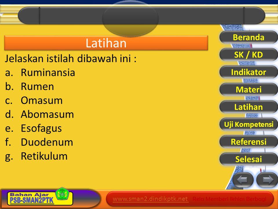 Latihan Jelaskan istilah dibawah ini : Ruminansia Rumen Omasum