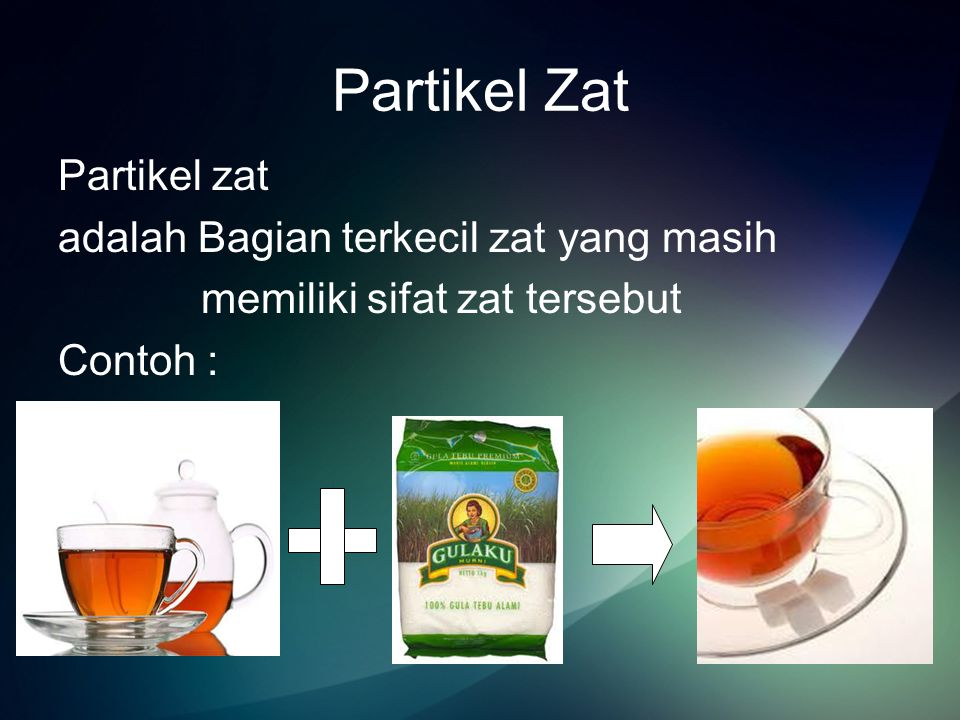 Partikel Zat Partikel zat adalah Bagian terkecil zat yang masih