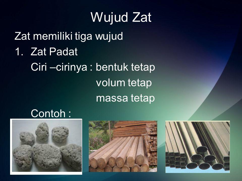 Wujud Zat Zat memiliki tiga wujud Zat Padat