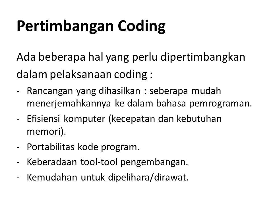 Pertimbangan Coding Ada beberapa hal yang perlu dipertimbangkan