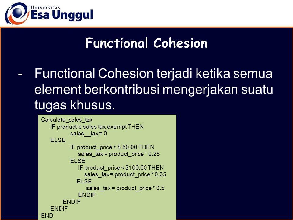 MATERI BELAJAR Functional Cohesion. Functional Cohesion terjadi ketika semua element berkontribusi mengerjakan suatu tugas khusus.
