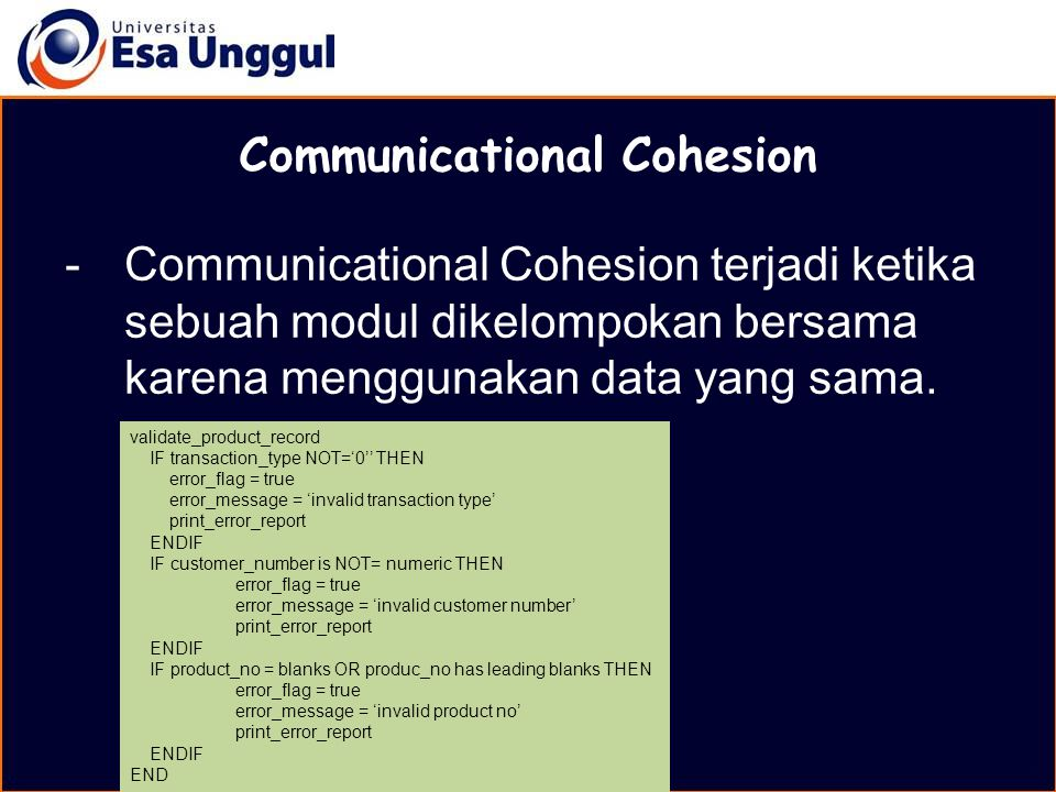 Communicational Cohesion