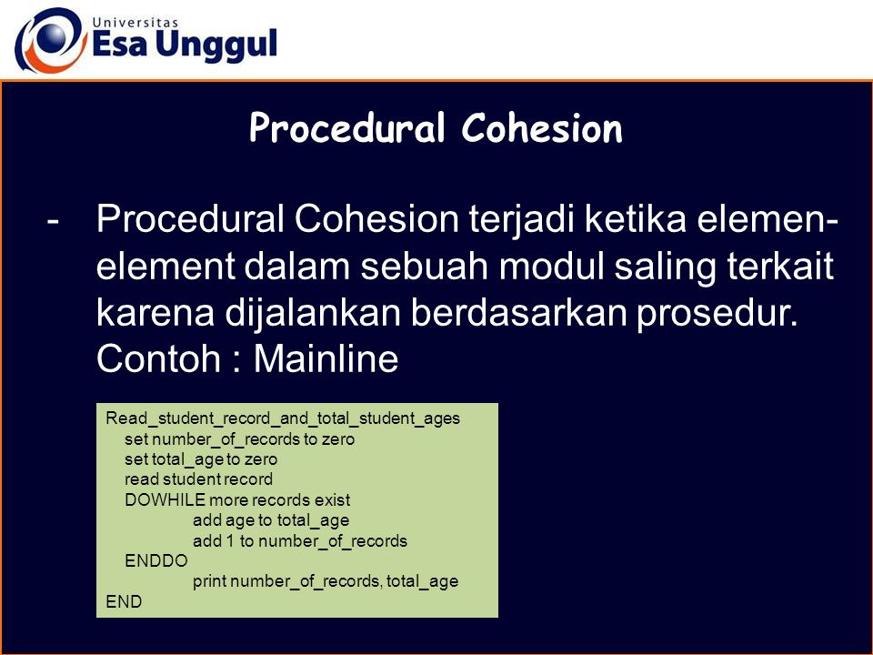 MATERI BELAJAR Procedural Cohesion.