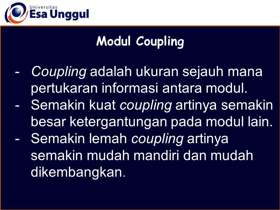 Coupling adalah ukuran sejauh mana pertukaran informasi antara modul.
