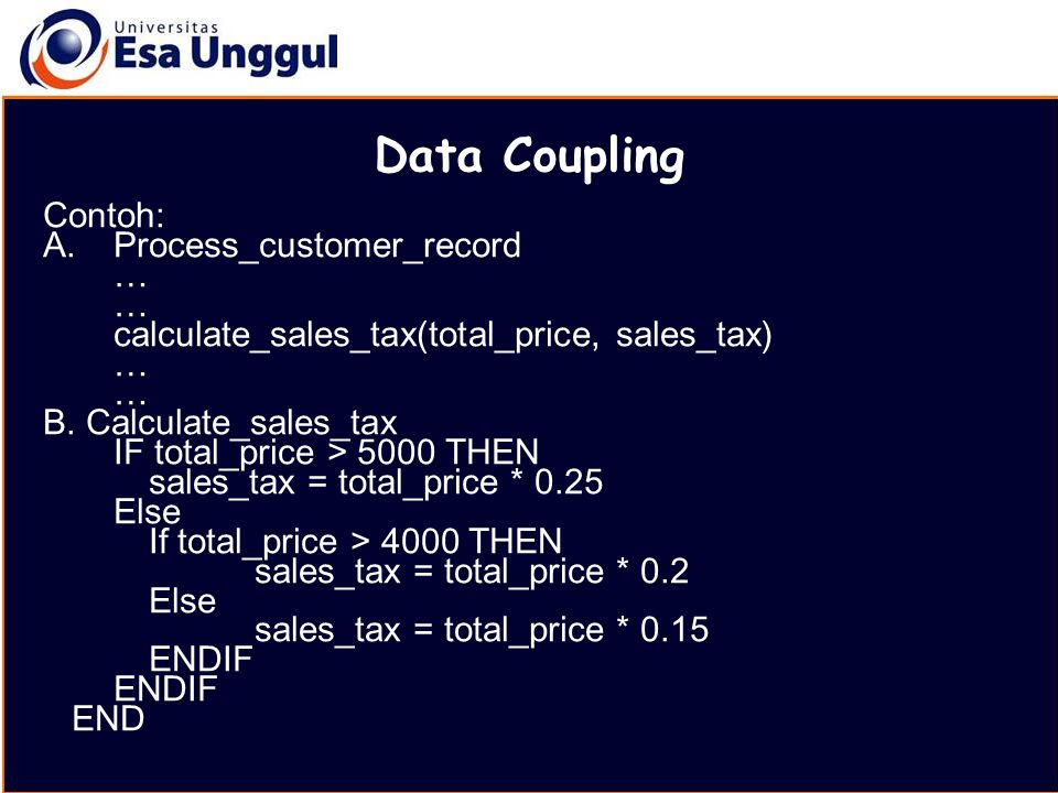 Data Coupling Contoh: Process_customer_record …