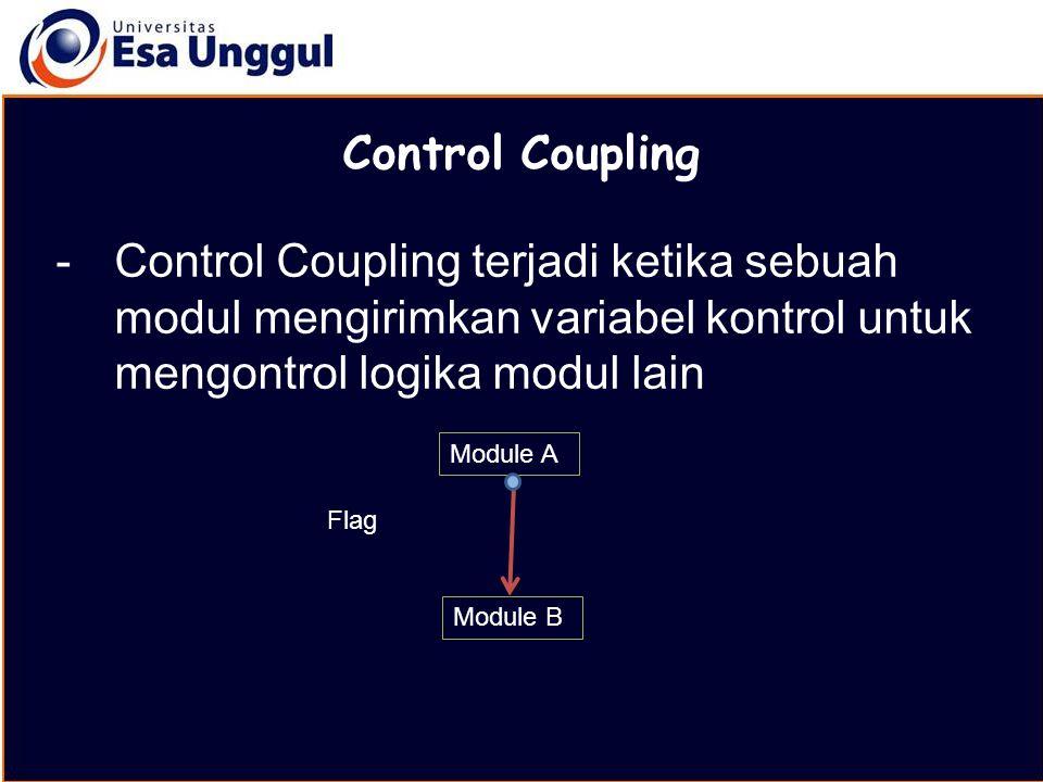 MATERI BELAJAR Control Coupling. Control Coupling terjadi ketika sebuah modul mengirimkan variabel kontrol untuk mengontrol logika modul lain.