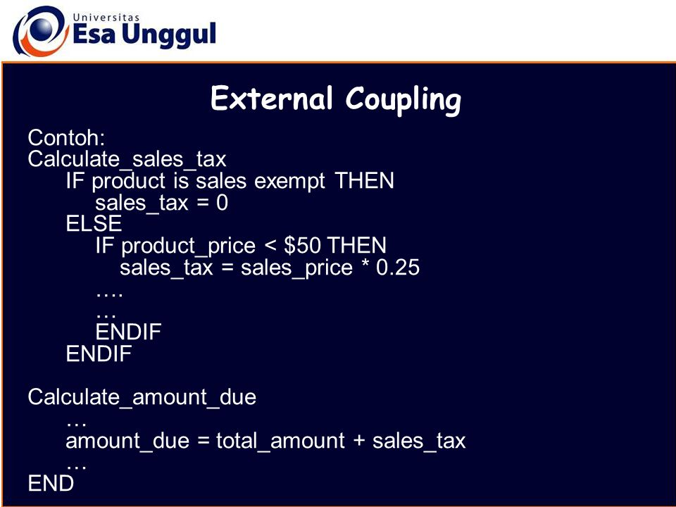 External Coupling Contoh: Calculate_sales_tax