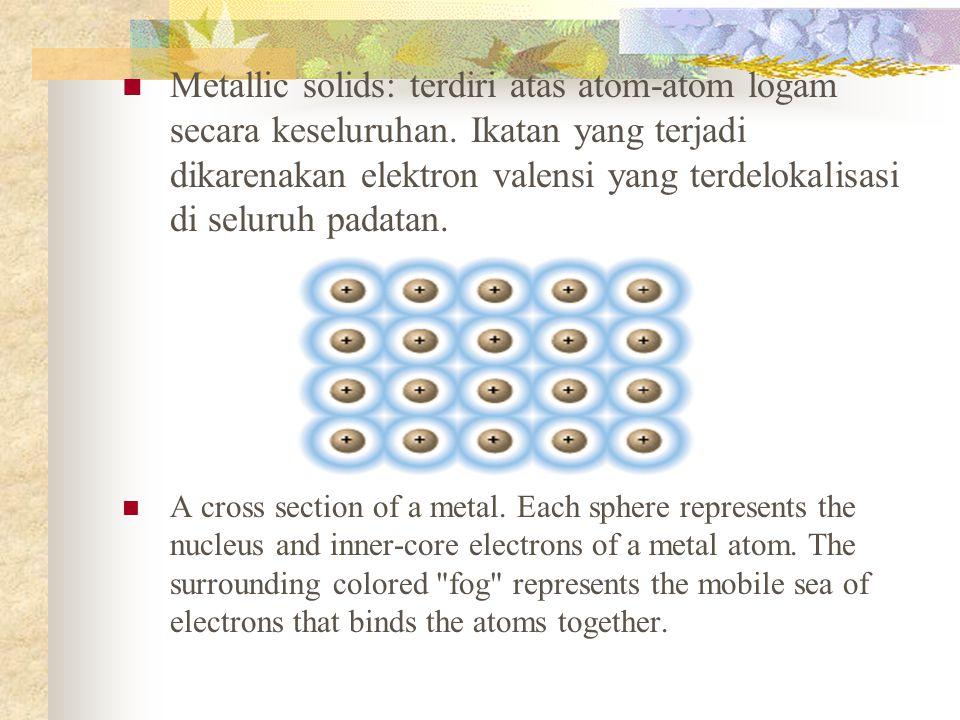 Metallic solids: terdiri atas atom-atom logam secara keseluruhan