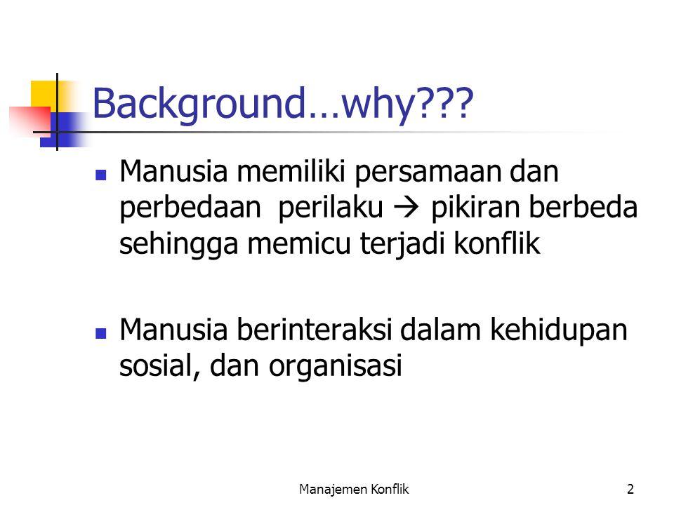Background…why Manusia memiliki persamaan dan perbedaan perilaku  pikiran berbeda sehingga memicu terjadi konflik.
