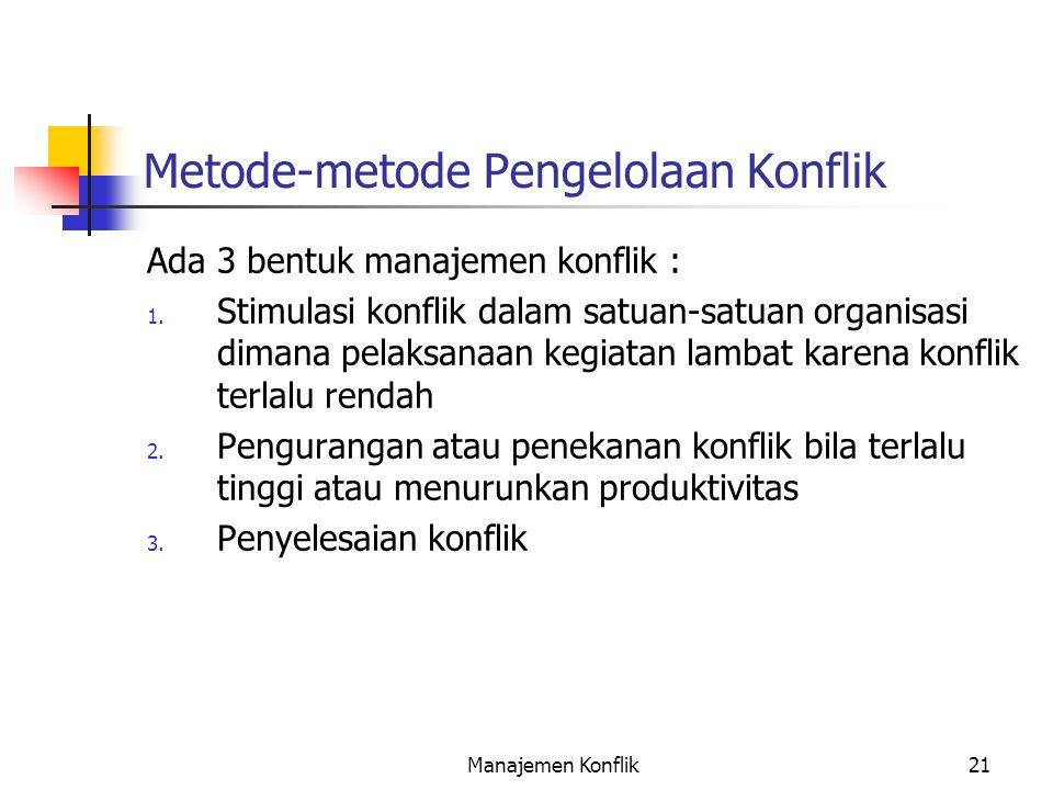 Metode-metode Pengelolaan Konflik