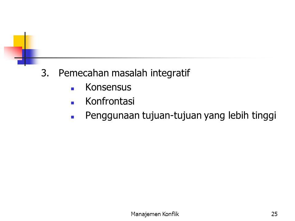 3. Pemecahan masalah integratif Konsensus Konfrontasi