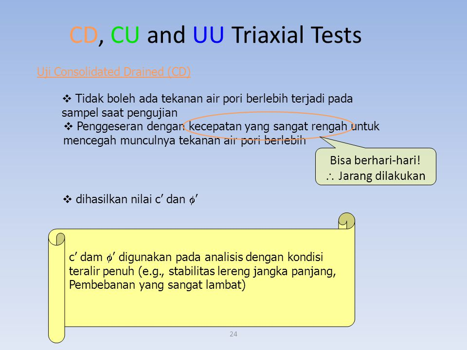 CD, CU and UU Triaxial Tests