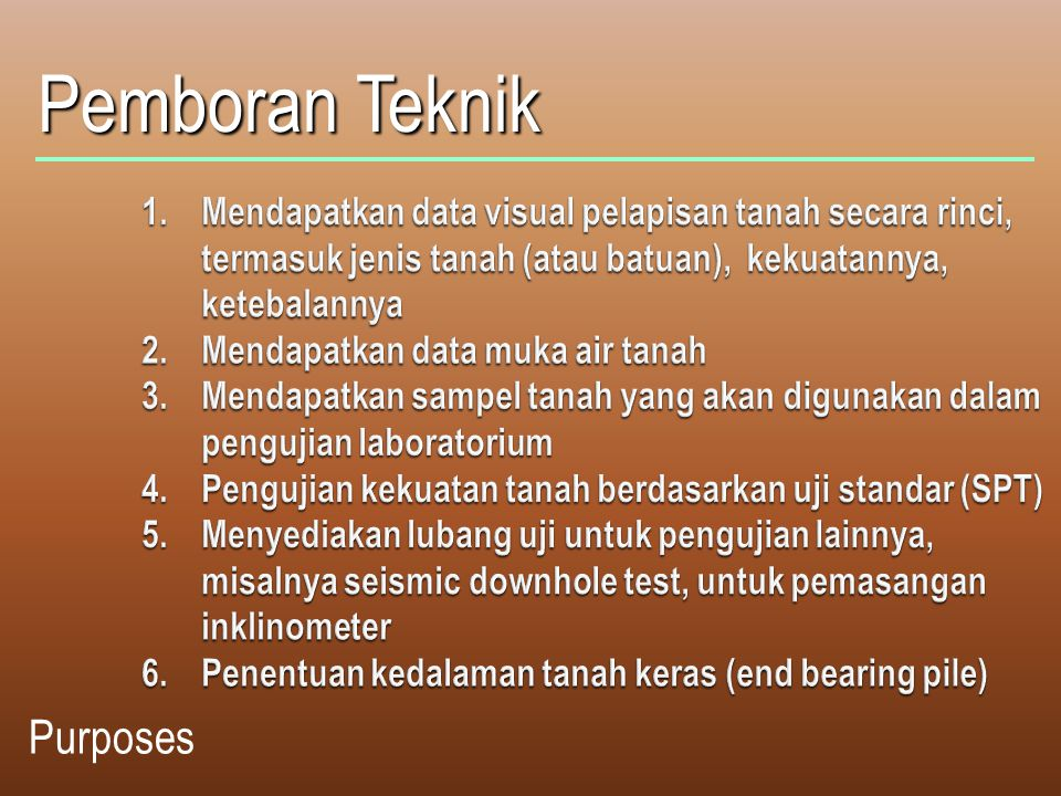 Pemboran Teknik Purposes