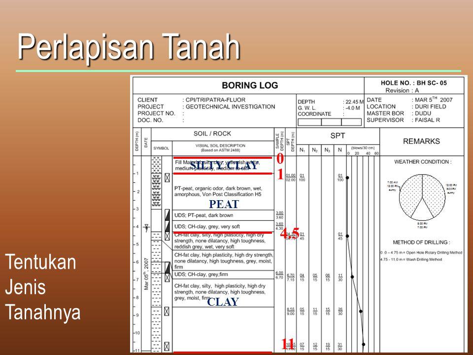 Perlapisan Tanah SILTY CLAY 1 PEAT 4.5 Tentukan Jenis Tanahnya CLAY 11