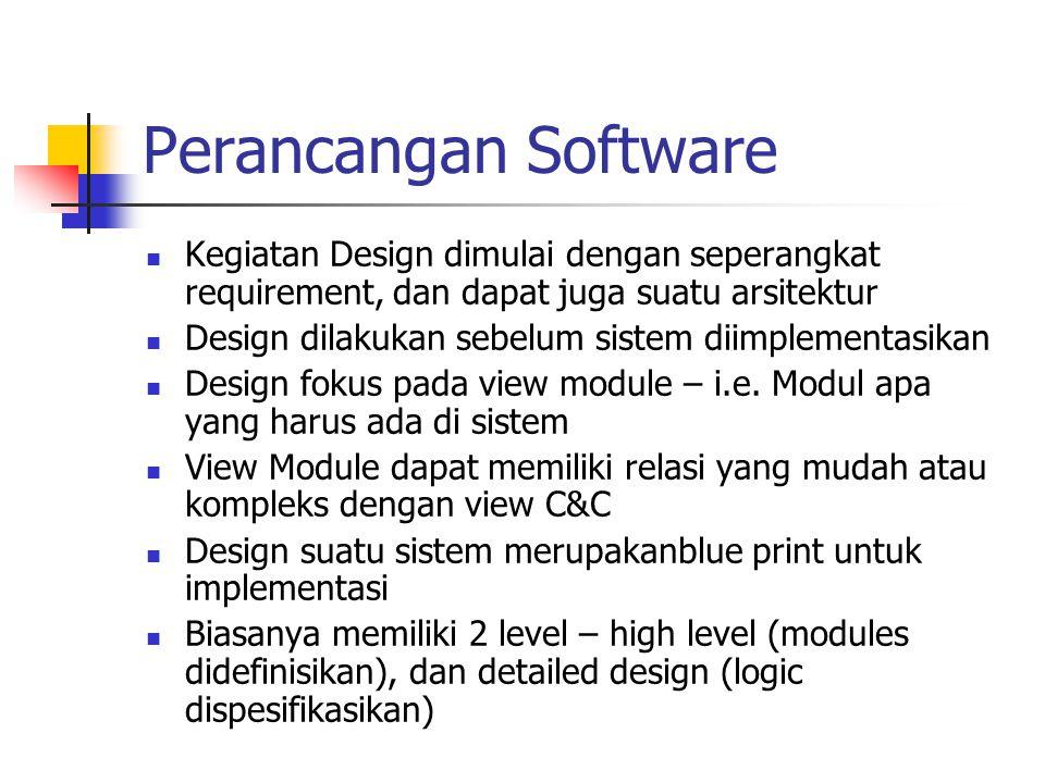 Perancangan Software Kegiatan Design dimulai dengan seperangkat requirement, dan dapat juga suatu arsitektur.