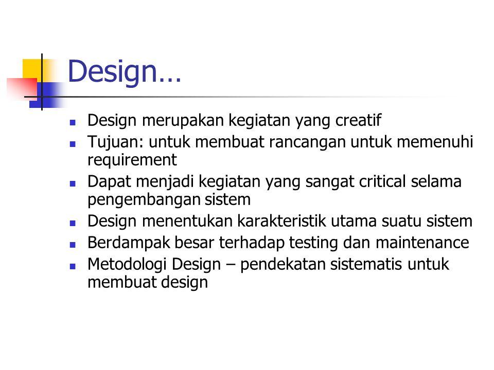 Design… Design merupakan kegiatan yang creatif