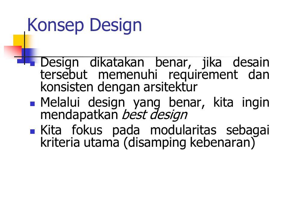 Konsep Design Design dikatakan benar, jika desain tersebut memenuhi requirement dan konsisten dengan arsitektur.