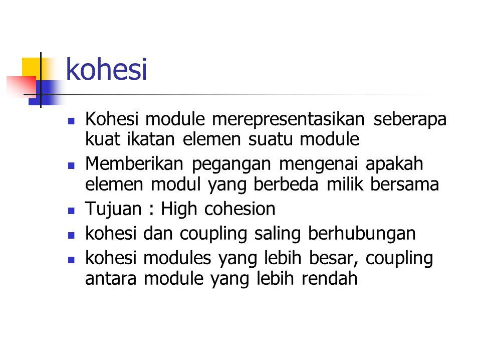 kohesi Kohesi module merepresentasikan seberapa kuat ikatan elemen suatu module.