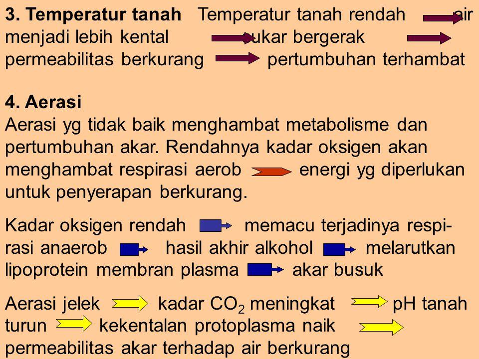 3. Temperatur tanah Temperatur tanah rendah air menjadi lebih kental sukar bergerak permeabilitas berkurang pertumbuhan terhambat